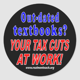 Out-dated textbooks (black) round sticker