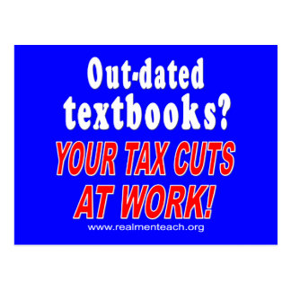 Out-dated textbooks blue postcards