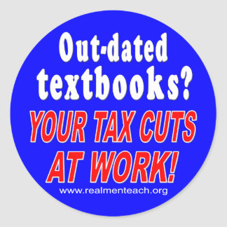 Out-dated textbooks (blue) round sticker