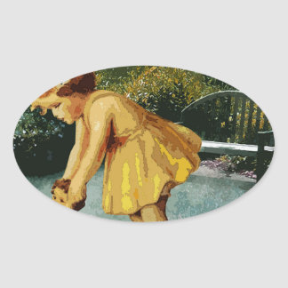 OUT FOR A STROLL IN THE GARDEN OVAL STICKER