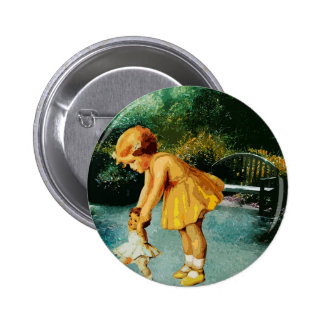 OUT FOR A STROLL IN THE GARDEN PINBACK BUTTON