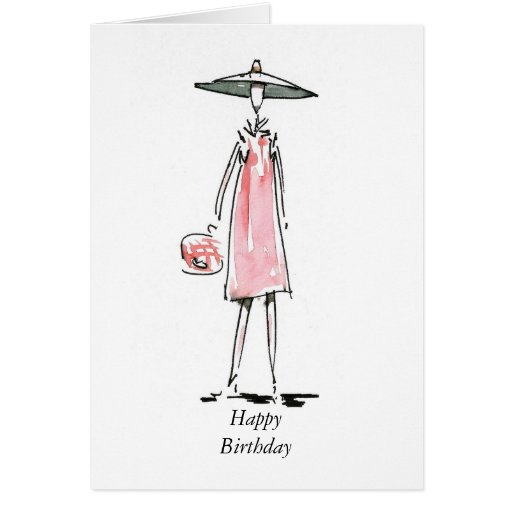 Out For Lunch Lady in Pink Happy Birthday Card