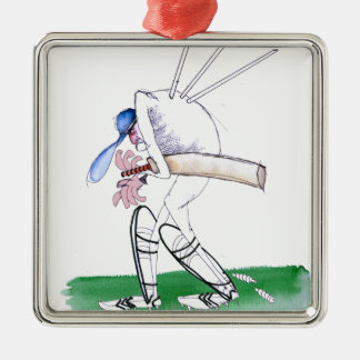 out for nought - cricket, tony fernandes metal ornament
