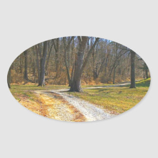 Out Into The Woods Oval Sticker