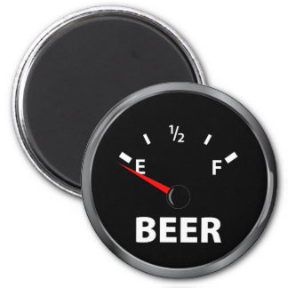 Out of Beer Fuel Gauge 2 Inch Round Magnet