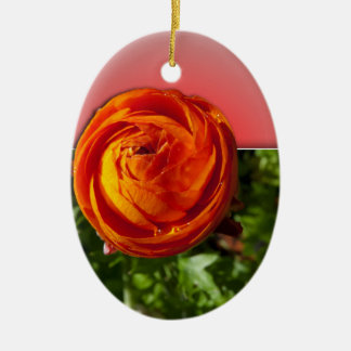 Out of Bounds Red Flower with red background. Ceramic Ornament