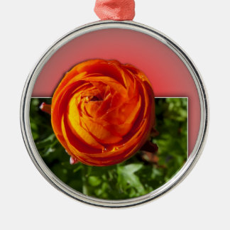 Out of Bounds Red Flower with red background. Metal Ornament