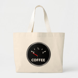 Out of Coffee Fuel Gauge Large Tote Bag