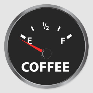 Out of Coffee Fuel Gauge Round Sticker