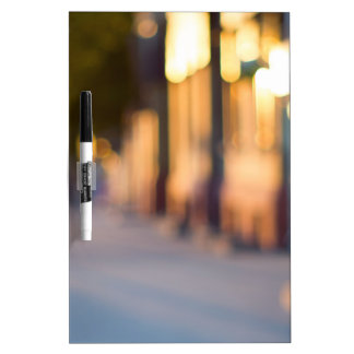 Out of focus image of streets and buildings Dry-Erase board