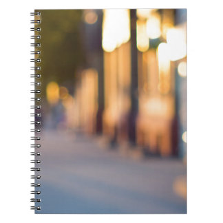 Out of focus image of streets and buildings notebook