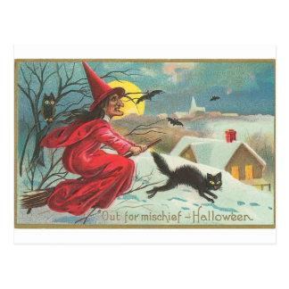 Out of Mischief - Halloween Postcard