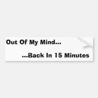Out Of My Mind, Back In 15 Minutes Car Bumper Sticker