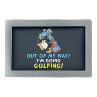 Out of my way, I'm going to the Golfing Rectangular Belt Buckle