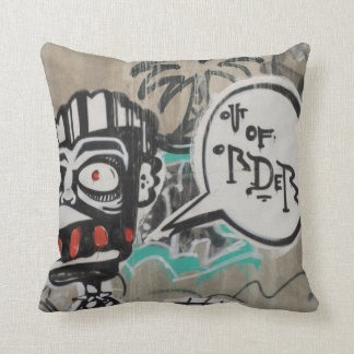Out Of Order Graffiti Throw Pillow