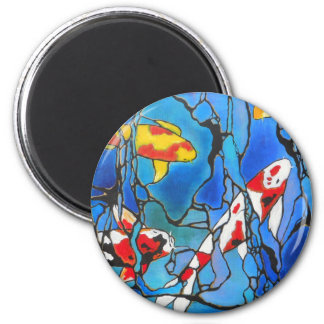 """Out Of The Blue"" Koi Fish Art Painting! 2 Inch Round Magnet"