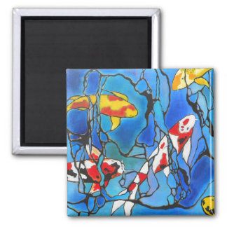 """Out Of The Blue"" Koi Fish Art Painting! 2 Inch Square Magnet"