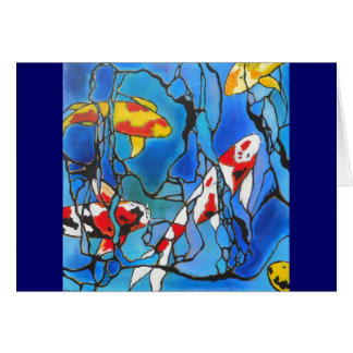"""""""Out Of The Blue"""" Koi Fish Art Painting! Card"""
