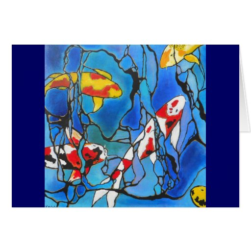 """Out Of The Blue"" Koi Fish Art Painting! Cards"