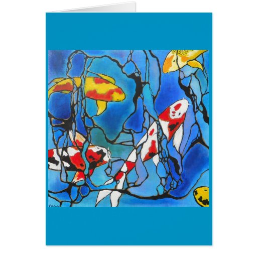 """Out Of The Blue"" Koi Fish Art Painting! Greeting Cards"