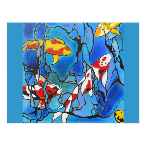 """Out Of The Blue"" Koi Fish Art Painting! Post Card"