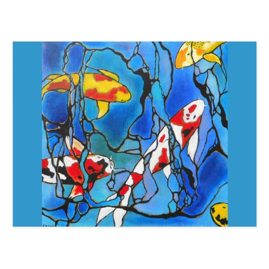 """""""Out Of The Blue"""" Koi Fish Art Painting! Postcard"""