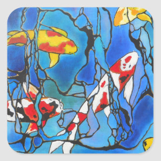 """""""Out Of The Blue"""" Koi Fish Art Painting! Square Sticker"""