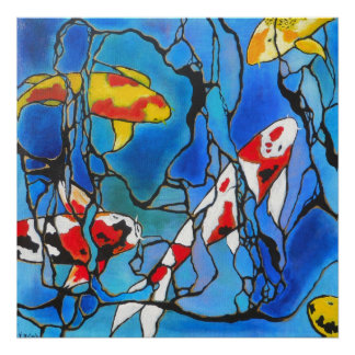 """Out Of The Blue""  Koi Fish Modern Art Print"