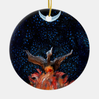 Out of the Flames: Phoenix Rising Ceramic Ornament