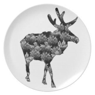Out of the Woods Moose Melamine Plate