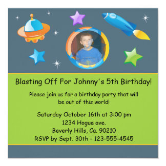 Out Of This World Add Photo Birthday Party Custom Announcement