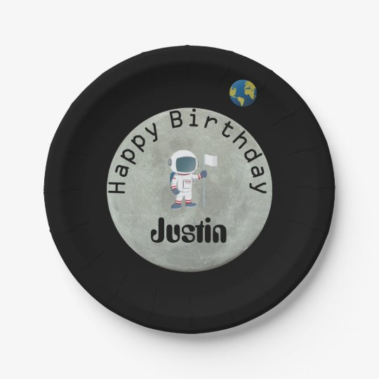 Out Of This World Astronaut Happy Birthday Party Paper Plate  sc 1 st  Zazzle & Out Of This World Astronaut Happy Birthday Party Paper Plate ...