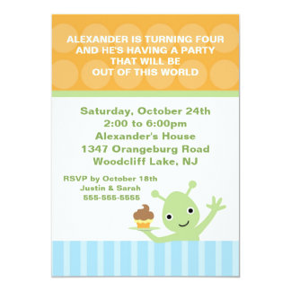 Out of this World Boys Alien Birthday Party Personalized Announcement