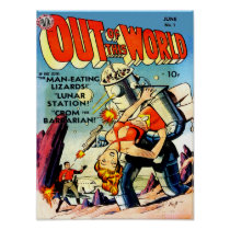 OUT OF THIS WORLD Cool Vintage Comic Book Cover Poster