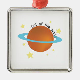 Out of this World Square Metal Christmas Ornament
