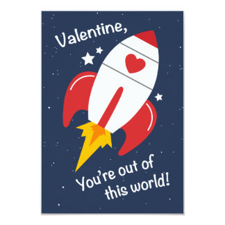 Out of This World Rocket Valentine Invite or Card