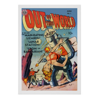 out of this world science fiction comic poster