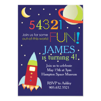 Out of this World Space Birthday Party Card