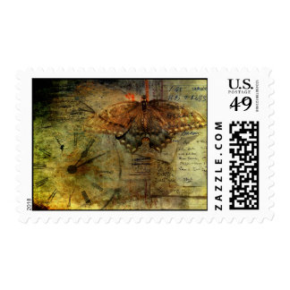 """""""Out of Time"""" Grungy Shopping List Collage Postage"""