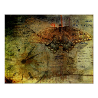 """""""Out of Time"""" Grungy Shopping Lists Collage Poster"""