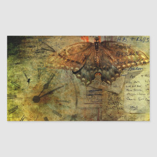 """""""Out of Time"""" Grungy Shopping Lists Collage Rectangular Sticker"""