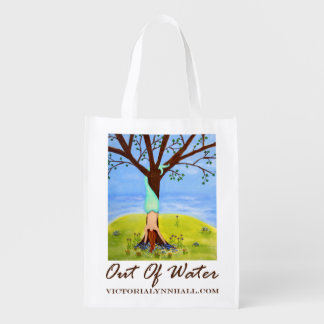 Out Of Water Mermaid Art Promotional Value Reusable Grocery Bag