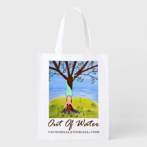 Out Of Water Mermaid Art Promotional Value Grocery Bags