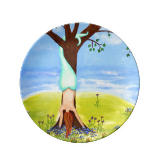 """""""Out Of Water"""" Mermaid Fantasy Art Porcelain Plates"""