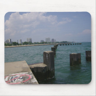 Out on Lake Michigan Pier Mouse Pad