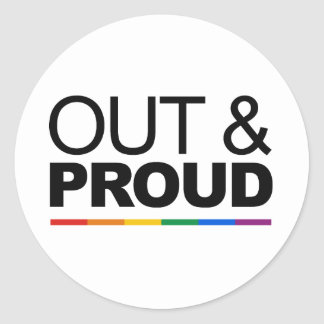 OUT & PROUD CLASSIC ROUND STICKER