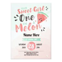 Out Sweet Girl One 1st Melon First Birthday Invite