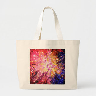 Out There, Colorful Abstract Galaxy Cosmic Floral Tote Bag