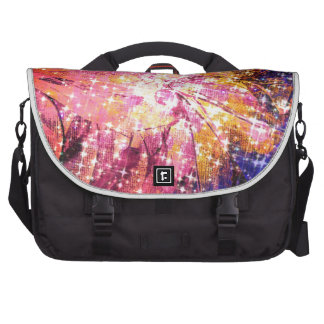 Out There, Colorful Abstract Galaxy Cosmic Floral Laptop Commuter Bag