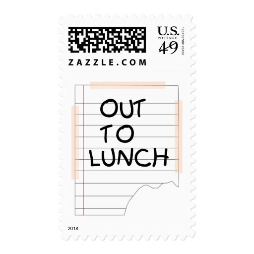 Out To Lunch - Funny Note Postage Stamps